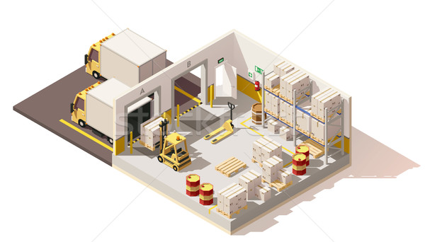 Stock photo: Vector isometric low poly warehouse
