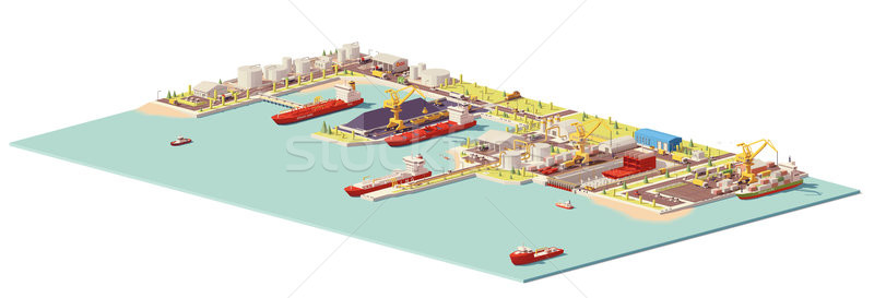 Vector low poly commercial port Stock photo © tele52