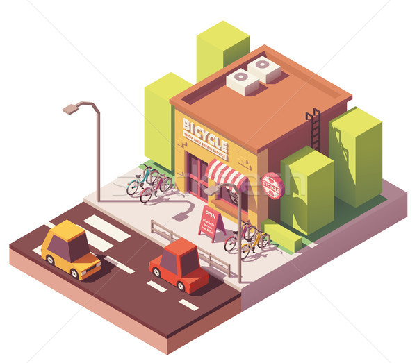 Vector isometric bicycle shop Stock photo © tele52