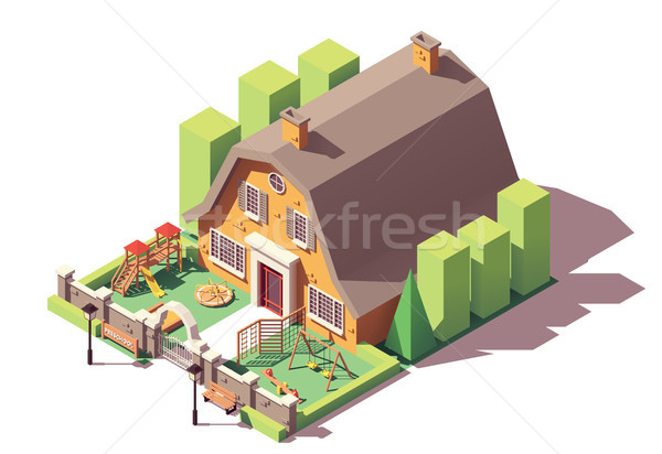 Stock photo: Vector isometric kindergarten