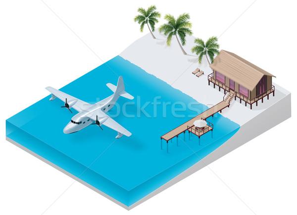Vector isometrische tropische resort gedetailleerd strand Stockfoto © tele52