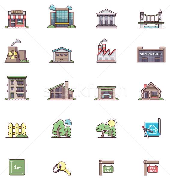 Сток-фото: недвижимости · набор · иконки · здании · строительство