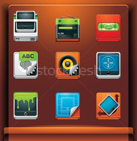 Stock fotó: Szerszámok · ikonok · mobil · eszközök · terv · doboz