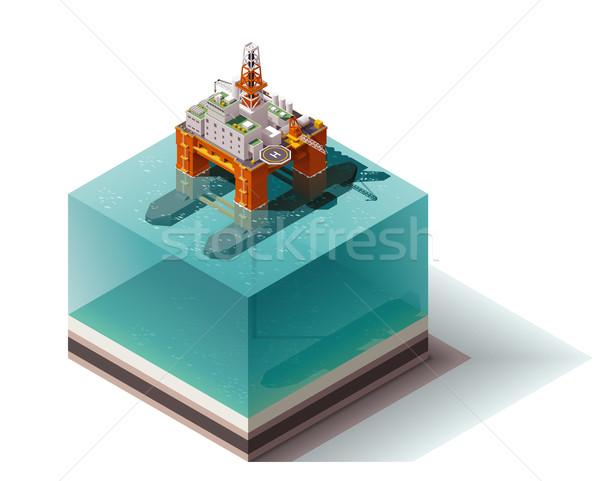 Vetor isométrica plataforma de petróleo Óleo Foto stock © tele52
