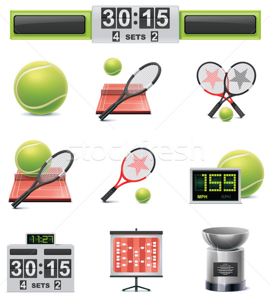 Vector tennis icon set Stock photo © tele52
