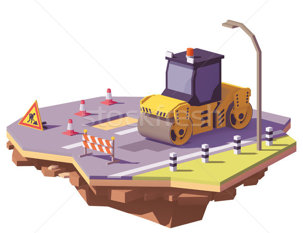 Vector low poly road roller Stock photo © tele52