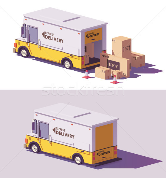 Vector low poly delivery van Stock photo © tele52