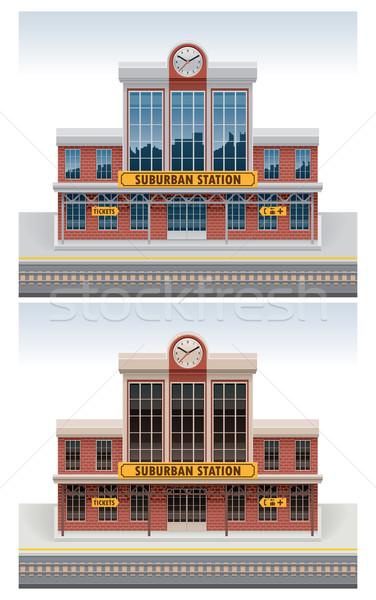 Vecteur gare icône détaillée vieux bâtiment Photo stock © tele52