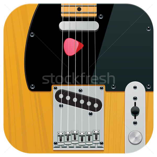 Vektor Platz Gitarre Symbol detaillierte Jahrgang Stock foto © tele52