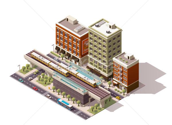 Vektor izometrikus város vasútállomás ikon ház Stock fotó © tele52