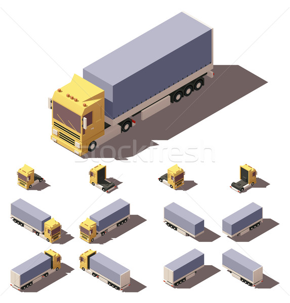 Vector isometric truck with tilt box semi-trailer icon set Stock photo © tele52