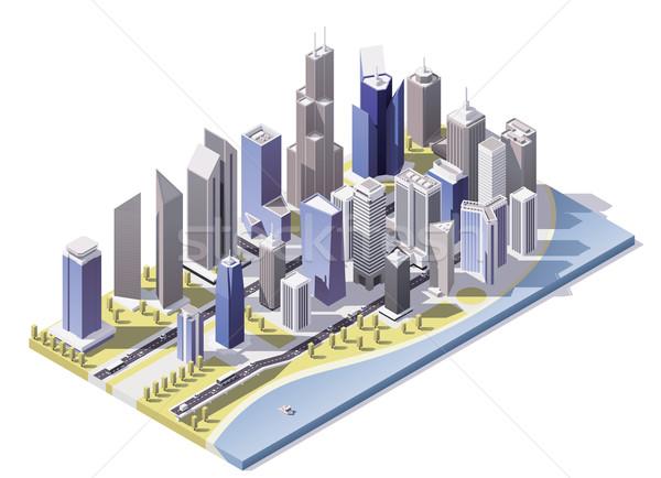 вектора изометрический город центра низкий улиц Сток-фото © tele52