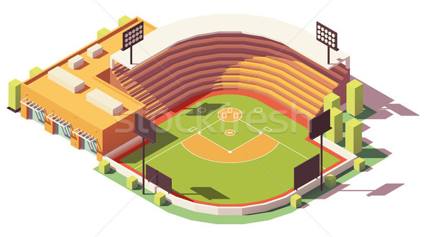 Vector isometric low poly baseball park Stock photo © tele52