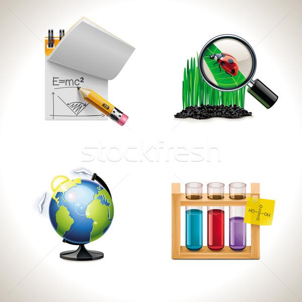 Vektor iskola ikonok szett oktatás fű Stock fotó © tele52