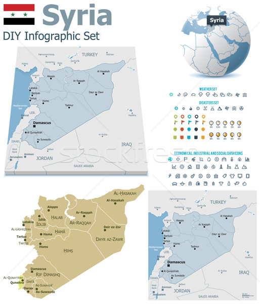 Stock photo: Syria maps with markers