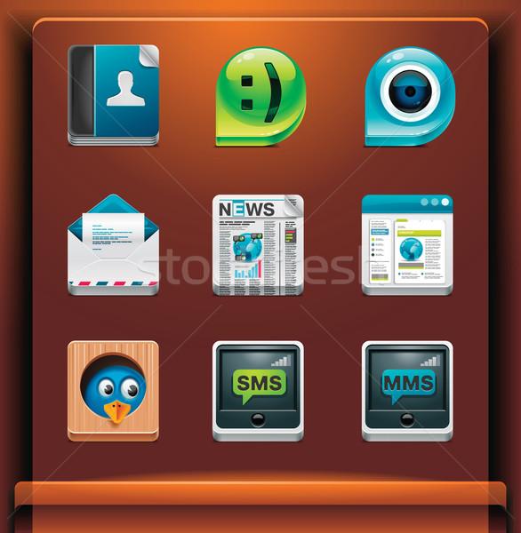 Zdjęcia stock: Komunikacji · społecznej · sieci · ikona · komórkowych