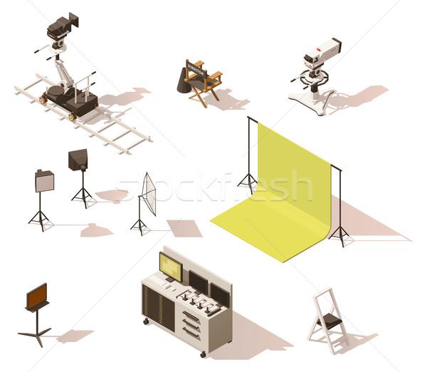 Vector isometric low poly video equipment set Stock photo © tele52