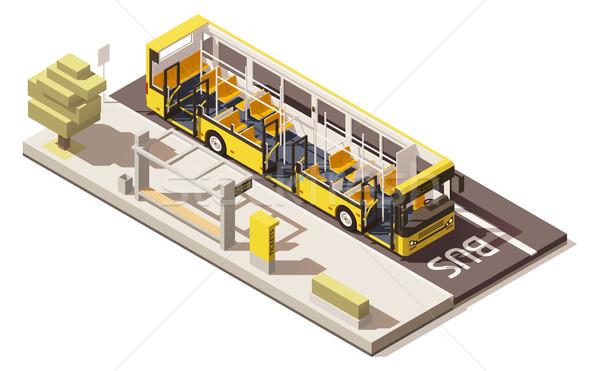Wektora izometryczny niski autobus przystanek autobusowy żółty Zdjęcia stock © tele52