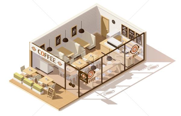 вектора изометрический низкий кофейня интерьер бизнеса Сток-фото © tele52