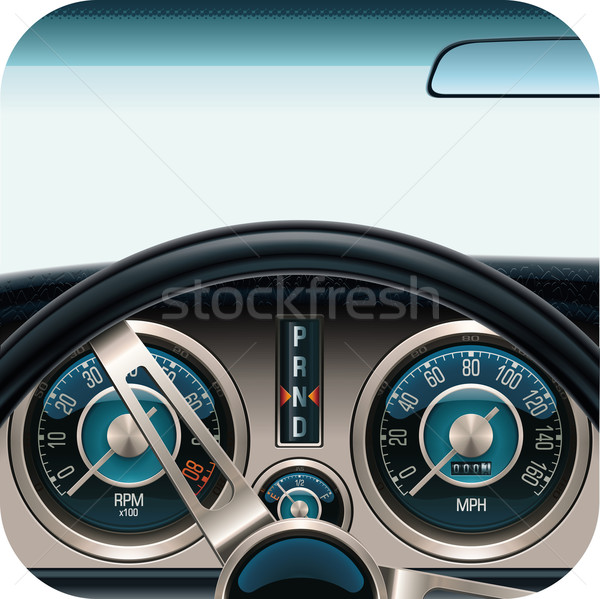 Vector auto dashboard vierkante icon retro Stockfoto © tele52