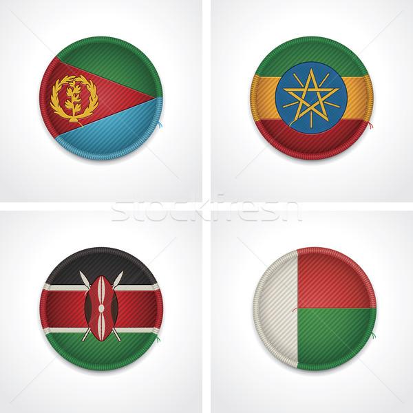 Zdjęcia stock: Flagi · kraje · tkaniny · odznaki · zestaw · szczegółowy