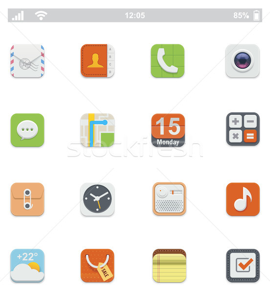 Generic smartphone UI icons Stock photo © tele52