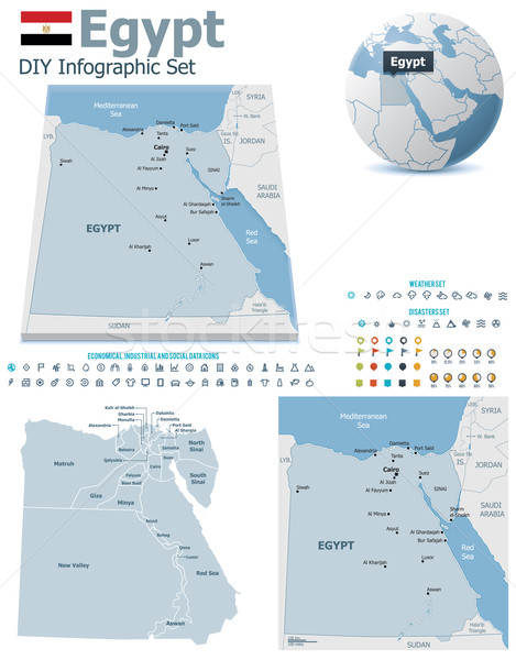 Egyiptom térképek szett politikai szimbólumok infografika Stock fotó © tele52
