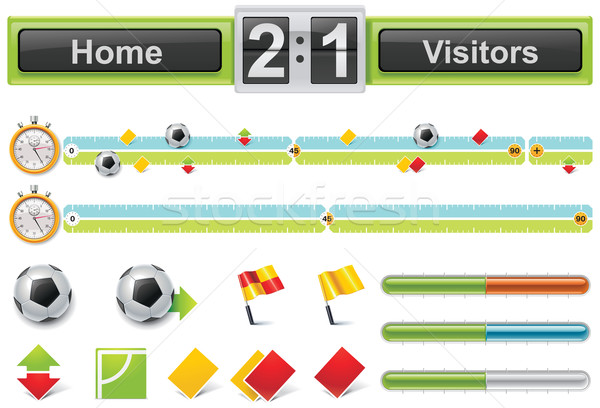 Vector soccer match timeline with scoreboard Stock photo © tele52