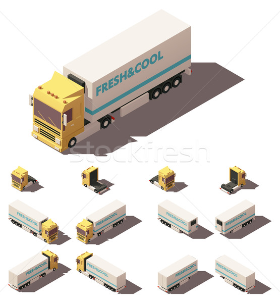 Vector isometric truck with insulated or refrigerated semi-trailer icon set Stock photo © tele52