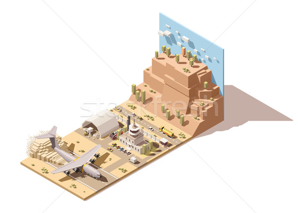 Vector isometric low poly desert airport building  humanitarian cargo airplane landing on dust Stock photo © tele52