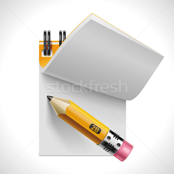 Vector open notepad with pencil XXL icon Stock photo © tele52