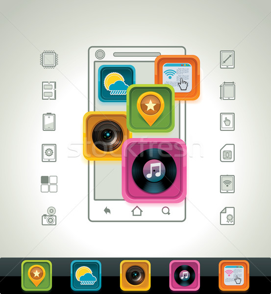 Vector smartphone icon Stock photo © tele52