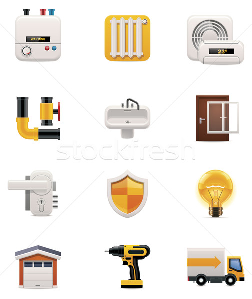 House renovation icon set. Part 2 Stock photo © tele52
