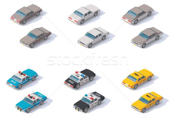 Vector isometric cars set Stock photo © tele52