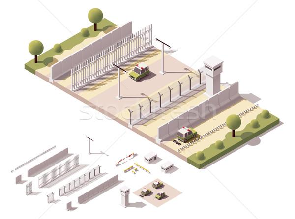 Vetor isométrica fronteira ilustração equipamentos de segurança carro Foto stock © tele52