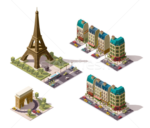 Vector isometric Paris architecture elements Stock photo © tele52
