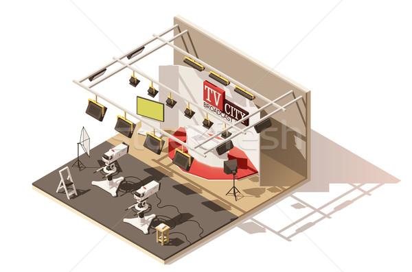 Vector isometric low poly television studio icon Stock photo © tele52