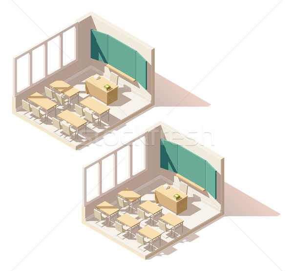 Vector isometric low poly school classroom Stock photo © tele52