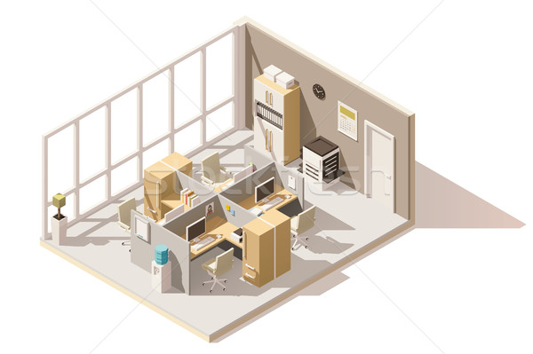 Vector isometric low poly office room Stock photo © tele52