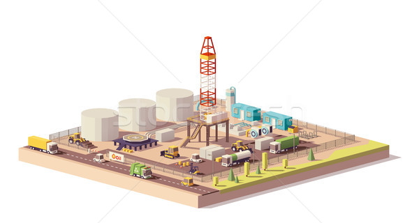 Vector low poly land oil and gas drilling rig Stock photo © tele52