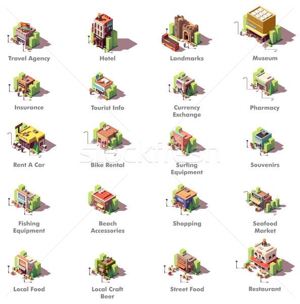 Vetor isométrica viajar ícones turismo diferente Foto stock © tele52