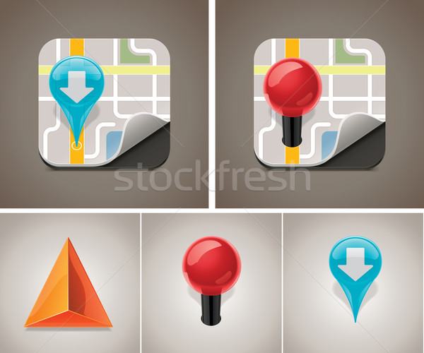 Vector map icon set Stock photo © tele52