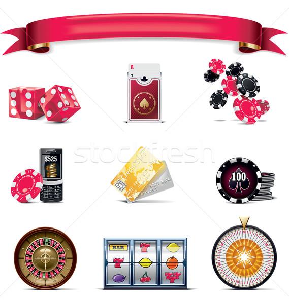 Vector gambling icon set. Part 2 (on white) Stock photo © tele52