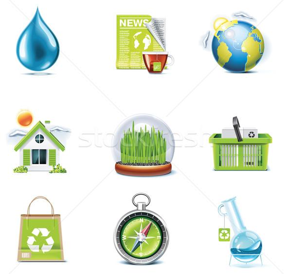 Vektor Ökologie Set grünen Wasser Stock foto © tele52