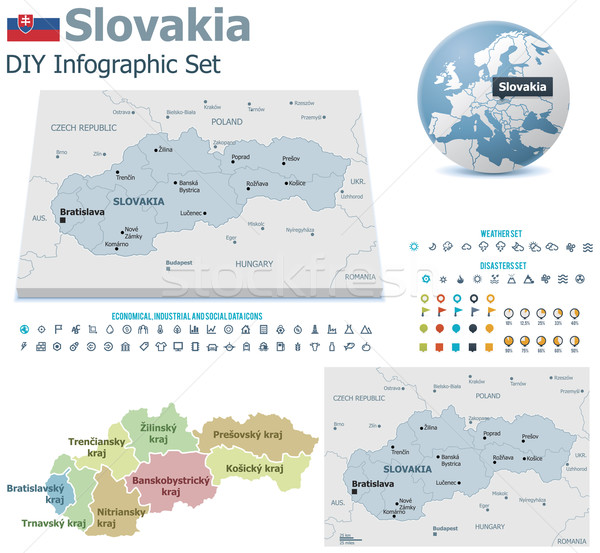 Slovakia maps with markers Stock photo © tele52