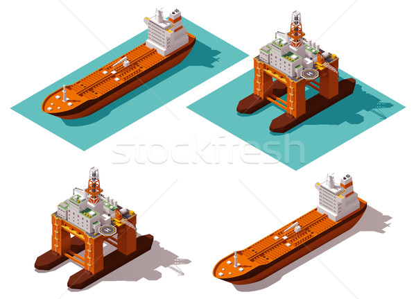 Stock photo: Vector isometric tanker and oil rig