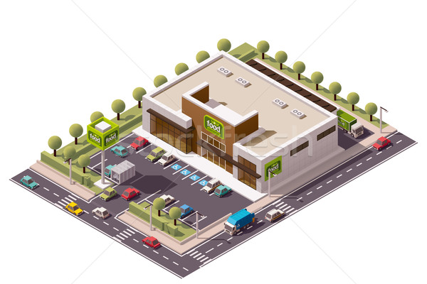 Vector isometric supermarket Stock photo © tele52