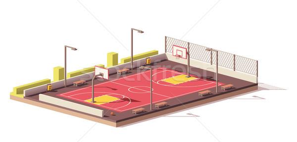 вектора низкий баскетбольная площадка улице школы дизайна Сток-фото © tele52