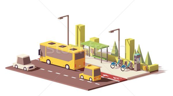 Vektor alacsony modern tömegközlekedés városi busz Stock fotó © tele52