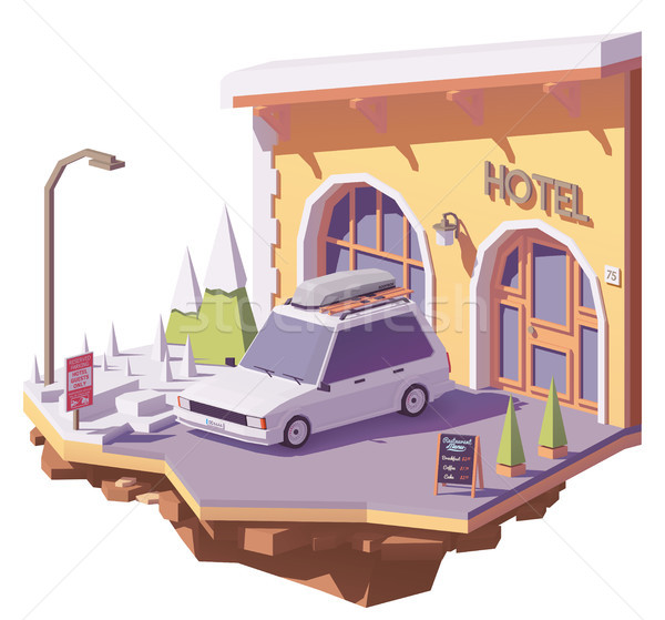 Vector low poly car and hotel Stock photo © tele52